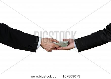 Close-up Of Person Hand Giving Money To Other Hand , Isolated On White.