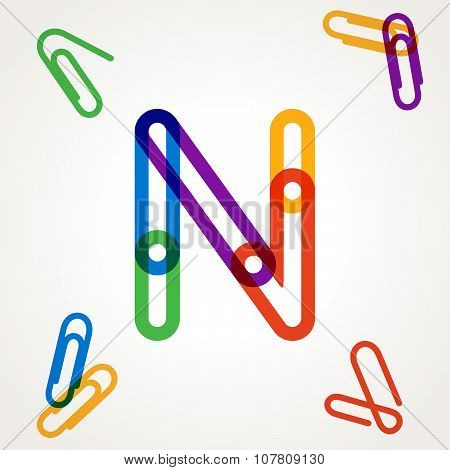 N Letter From Paper Clip Alphabet.