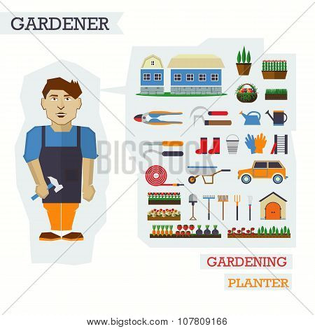 Set of elements for horticulture with gardener. Farm building, p