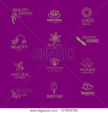 Set of beauty industry and fashion logo. Identity for beauty companies, ecological cosmetics busines