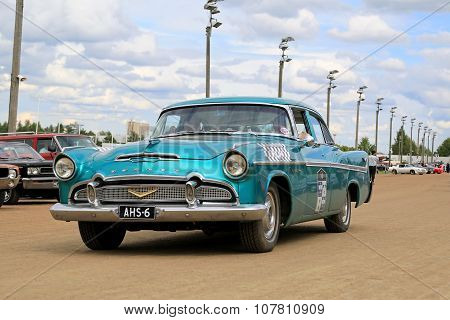 Turquoise Desoto Firedome Classic Car On A Show