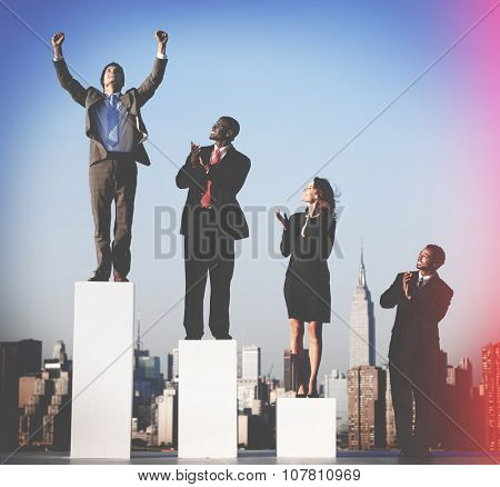 Business People Graph Success Growth Winning Concept