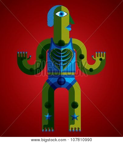 Modernistic Vector Illustration, Geometric Cubism Style Avatar Isolated On Art Background. Strange C