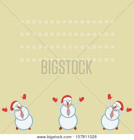 card three funny snowmen happy