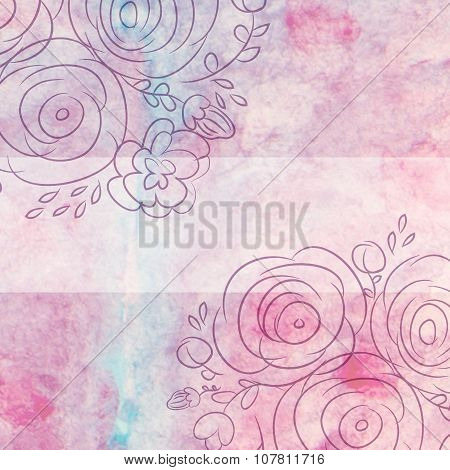 Decorative Floral Illustration Of Leaves And Flowers On A Watercolor Background. Hand Drawn Watercol