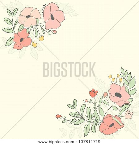 Cute Card With Flower Bouquet. Vector Illustration