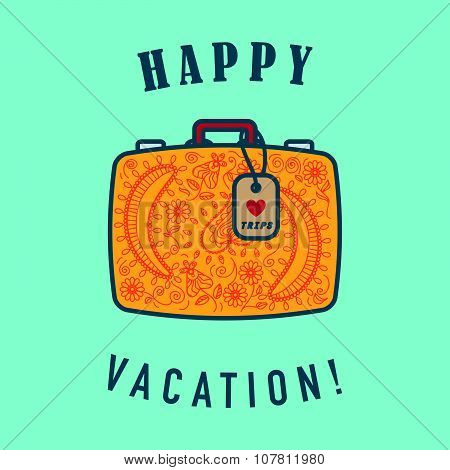 Vector illustration of travel suitcase with text message.