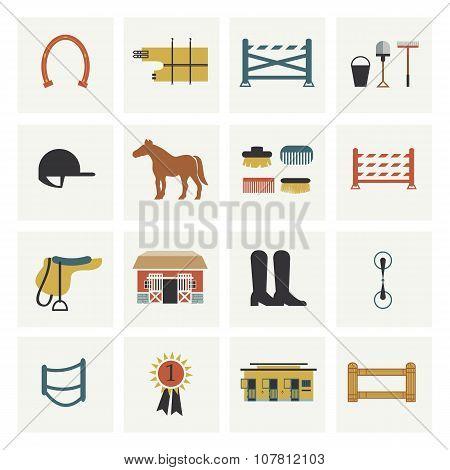 Set of horseback riding icons.
