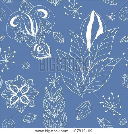 Stock Vector Seamless Blue Floral  Doodle  Pattern.