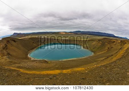 Volcano crater Viti with lake inside at Krafla volcanic area