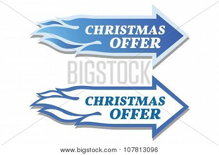 Christmas Offer Stickers Set. Arrow And Flame Concept.