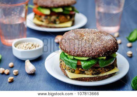 Vegan Quinoa Eggplant Spinach Chickpeas Rye Burger