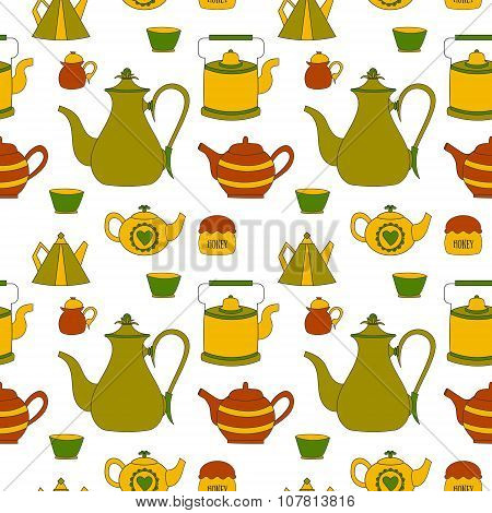 Hand Drawn Seamless Pattern With Tea Time Element
