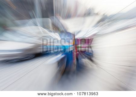 Abstract Blurred Background Of Traditional Tuk-tuk Taxi Service In Thailand.