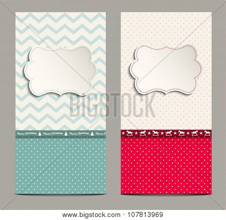 two shabby chic cards, can be used as christmas background, illustration