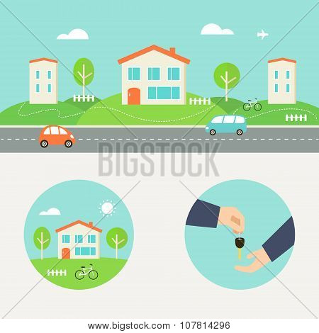 Town Street with Houses and Cars Header. Renting, Buying or Sharing Apartment Round Illustrations