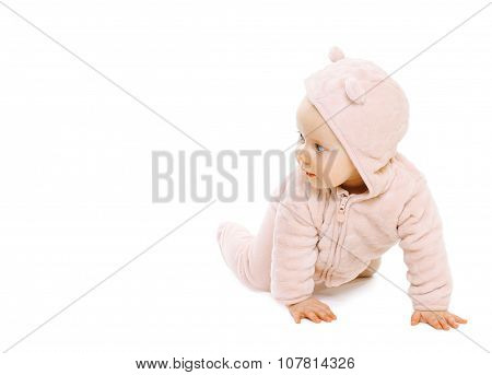Cute Funny Baby Crawls On A White Background