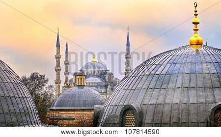 Domes Of Blue Mosque In Istanbul On Sunset