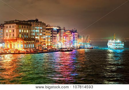 Night View Of Galata Quarter On Bosporus In Istanbul, Turkey