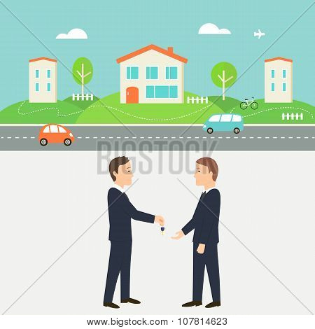 Town Street with Houses, Cars and Road. Real Estate Agent Giving a Key. Shared Economy and Collabora