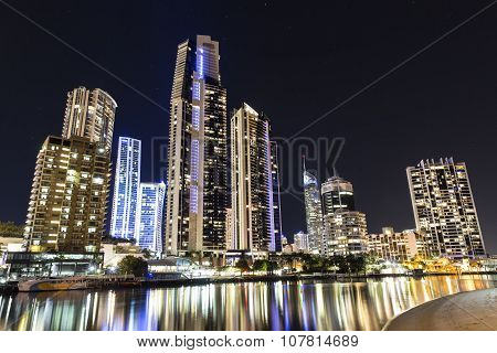 Surfers Paradise cityscape by night
