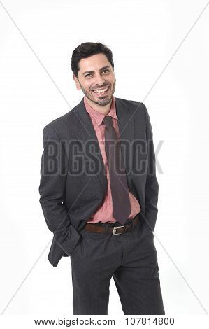 Corporate Portrait Of Young Attractive Businessman Of Latin Hispanic Ethnicity Smiling In Suit And T
