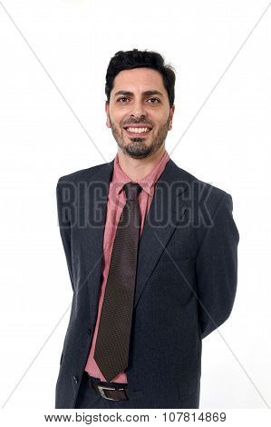 Corporate Portrait Young Attractive Businessman Of Hispanic Ethnicity Smiling In Suit And Tie