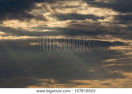 Ray Light Of Sun Through Cloud
