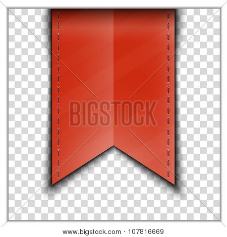 Red bookmark decoration ribbon on transparent background. Vector illustration