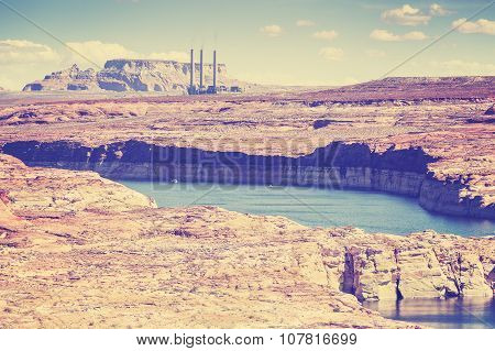 Vintage Old Film Style Photo Of Lake Powell And Glen Canyon, Usa.