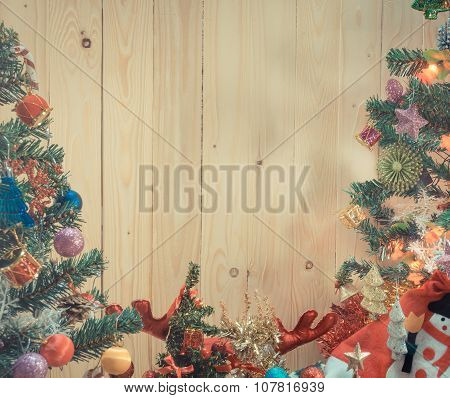 Christmas Ornaments And Vary Of Decoration On Wood
