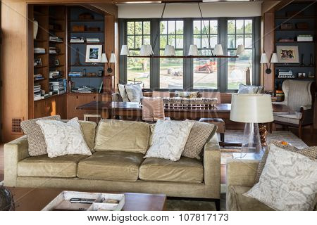 USA, NEW-YORK - 1 SEP, 2014: Comfortable room with many furniture and decoration.