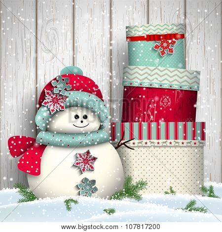 Cute snowman with  stack of big colorful presents, illustration
