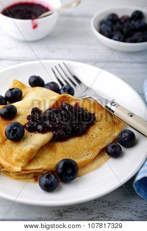 Crepes With Jam And Fresh Berries