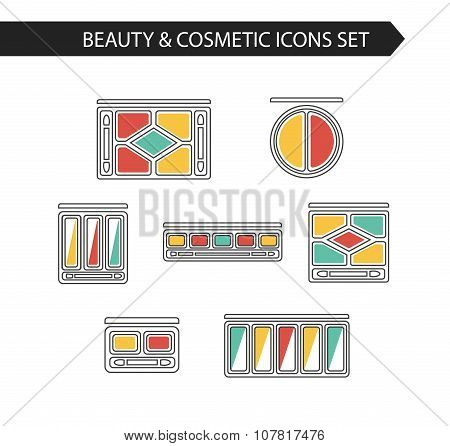 Thin line makeup icons