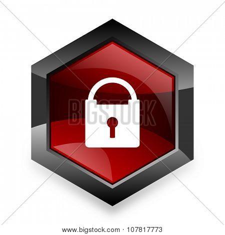 padlock red hexagon 3d modern design icon on white background