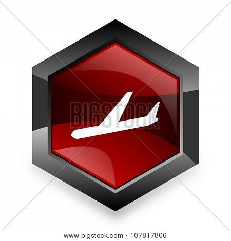 arrivals red hexagon 3d modern design icon on white background