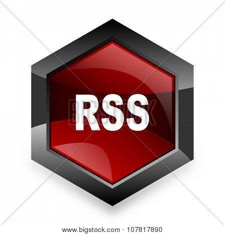 rss red hexagon 3d modern design icon on white background