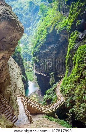 The Longshuixia Fissure Gorge, Wulong, China