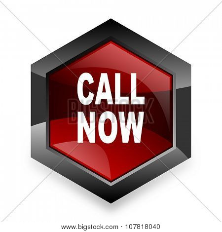 call now red hexagon 3d modern design icon on white background