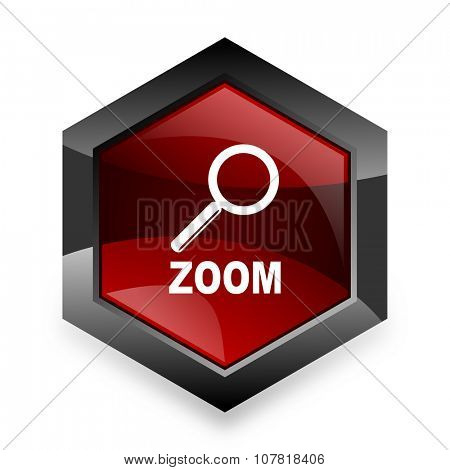 zoom red hexagon 3d modern design icon on white background