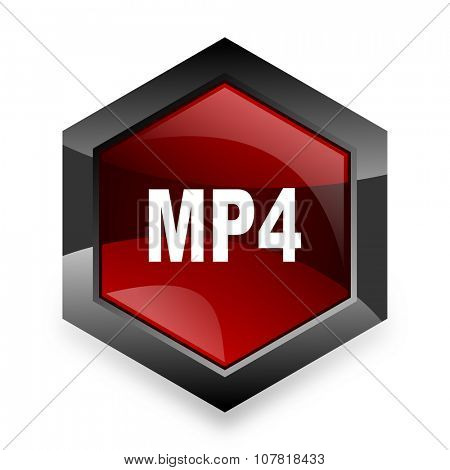 mp4 red hexagon 3d modern design icon on white background