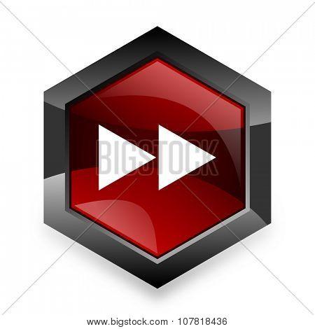 rewind red hexagon 3d modern design icon on white background