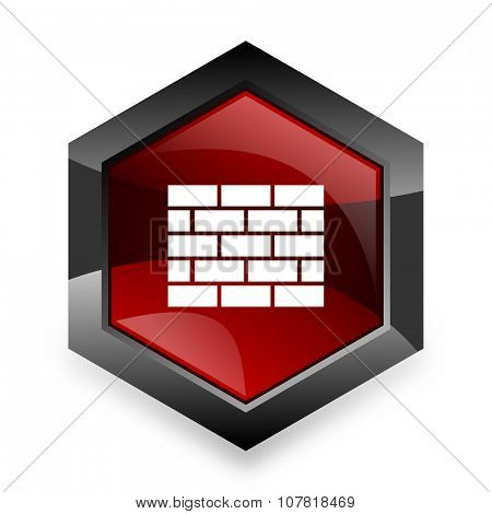 firewall red hexagon 3d modern design icon on white background