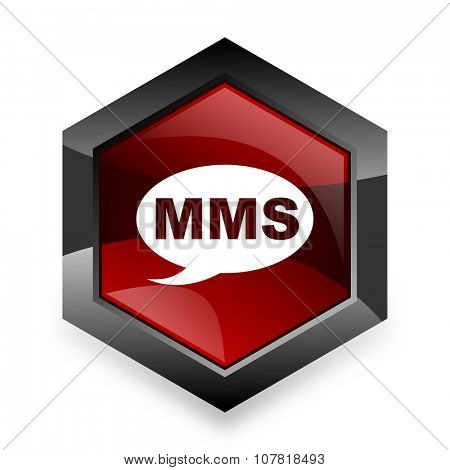 mms red hexagon 3d modern design icon on white background