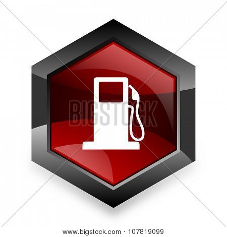 petrol red hexagon 3d modern design icon on white background