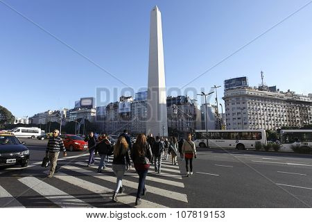 BUENOS AIRES, ARGENTINA - June 28: The Obelisk (Obelisk E), the most Recognized landmark in the capital on 28 Apr 2015 in Buenos Aires, Argentina.