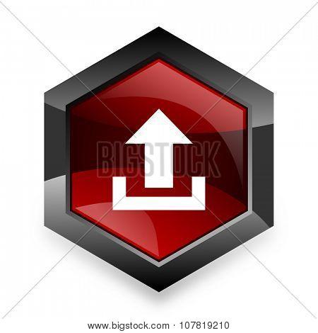 upload red hexagon 3d modern design icon on white background