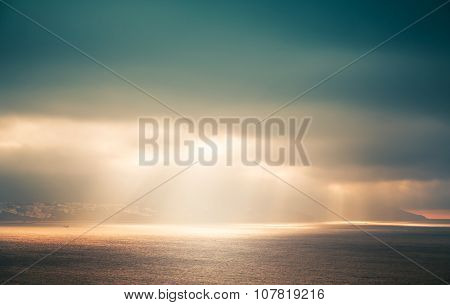 Atlantic Ocean Landscape, Evening Sunlight In Sky