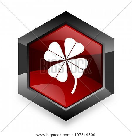 four-leaf clover red hexagon 3d modern design icon on white background